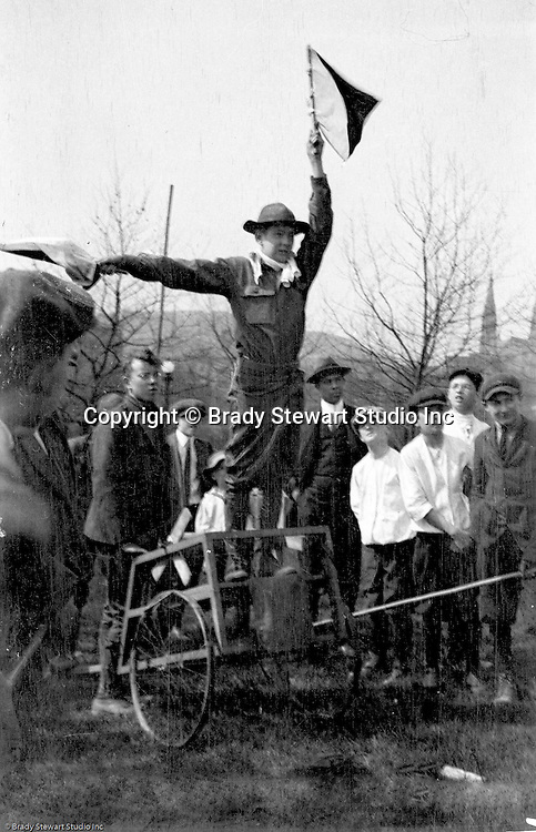 Gettysburg PA: View of the McKeesport Boy's Brigade member sending signals to the other side of the camp at Gettysburg. Brady Stewart was in Gettysburg with the Pittsburgh-area Boy's Brigade. They were in Gettysburg for the 40th anniversary of the battle of Gettysburg. The Boy's Brigade was a church-based youth organization started in the late 1800s in Scotland.