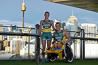 Sporting 2XU gear (L-R)  Kate Doughty and Nic Beveridge / Para-tri athletes<br /> 2016 APC RIO Uniform Launch with the city of Sydney as the backdrop shot from the Star Casino<br /> Australian Paralympic Committee<br /> Star Casino / Sydney / NSW<br /> Monday 6 June 2016<br /> © Sport the library / Jeff Crow