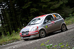 14th September 2012 - Devils Bridge - Mid Wales : WRC Wales Rally GB SS6 Myherin stage : Renaud Bronkart and Adeline Fracasso of Belgium in their Toyota Yaris.
