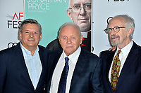 "LOS ANGELES, USA. November 17, 2019: Ted Sarandos, Sir Anthony Hopkins & Jonathan Pryce at the gala screening for ""The Two Popes"" as part of the AFI Fest 2019 at the TCL Chinese Theatre.<br /> Picture: Paul Smith/Featureflash"