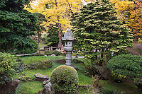 Japanese Tea Garden, Golden Gate Park, San Francisco. Stone lantern and evergreens.