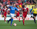 Aberdeen v St Johnstone...31.08.13      SPFL<br /> Liam Caddis is tracked by Cammy Smith<br /> Picture by Graeme Hart.<br /> Copyright Perthshire Picture Agency<br /> Tel: 01738 623350  Mobile: 07990 594431