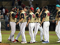 The East team celebrates after winning the annual Arizona Fall League Fall Stars Game, 4-2, at Salt River Fields on October, 12, 2019 in Scottsdale, Arizona (Bill Mitchell)