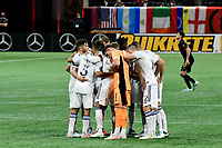 ATLANTA, GA - APRIL 24: Chicago Fire's starters take the pitch for the match between Chicago Fire FC and Atlanta United FC at Mercedes-Benz Stadium on April 24, 2021 in Atlanta, Georgia.