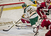 15 November 2015: University of Vermont Catamount Forward Brendan Bradley, a Junior from Warminster, PA, misses an overtime scoring opportunity against the University of Massachusetts Minutemen at Gutterson Fieldhouse in Burlington, Vermont. The Minutemen rallied from a three goal deficit to tie the game 3-3 in their Hockey East matchup. Mandatory Credit: Ed Wolfstein Photo *** RAW (NEF) Image File Available ***