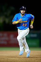 Cam Balego (22) of the Myrtle Beach Pelicans hustles towards third base against the Winston-Salem Dash at TicketReturn.com Field on May 16, 2019 in Myrtle Beach, South Carolina. The Dash defeated the Pelicans 6-0. (Brian Westerholt/Four Seam Images)