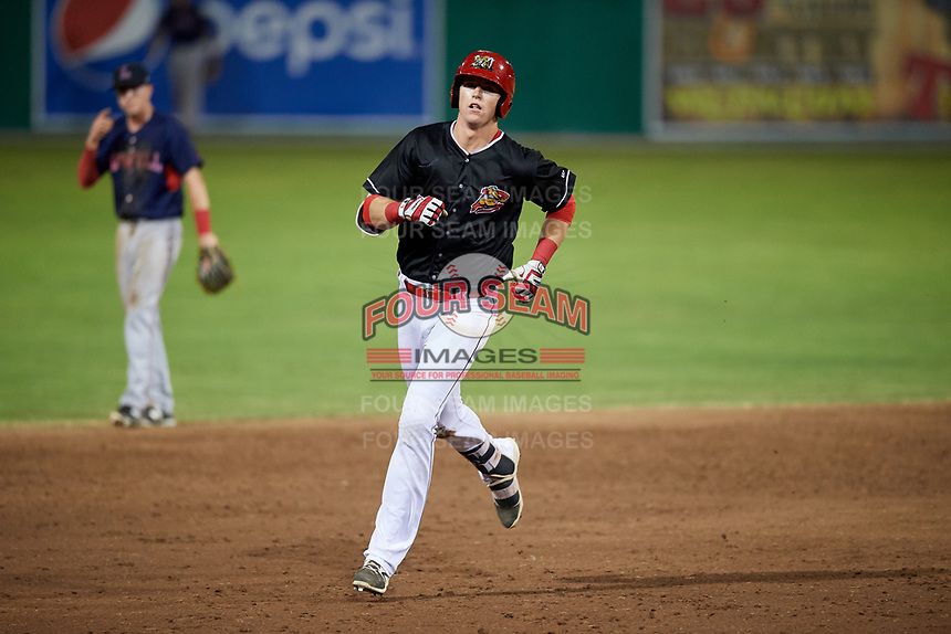 Batavia Muckdogs first baseman Sean Reynolds (25) runs the bases after hitting a home run in the bottom of the eighth inning during a game against the Lowell Spinners on July 16, 2018 at Dwyer Stadium in Batavia, New York.  Lowell defeated Batavia 4-3.  (Mike Janes/Four Seam Images)