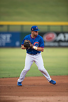AZL Cubs 2 third baseman Grant Fennell (19) prepares to make a throw to first base during an Arizona League game against the AZL Rangers at Sloan Park on July 7, 2018 in Mesa, Arizona. AZL Rangers defeated AZL Cubs 2 11-2. (Zachary Lucy/Four Seam Images)