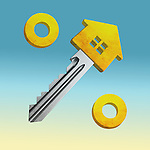 Illustrative image of percentage sign made from house and key representing home loan