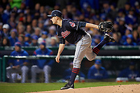 Cleveland Indians pitcher Trevor Bauer (47) delivers a pitch in the first inning during Game 5 of the Major League Baseball World Series against the Chicago Cubs on October 30, 2016 at Wrigley Field in Chicago, Illinois.  (Mike Janes/Four Seam Images)