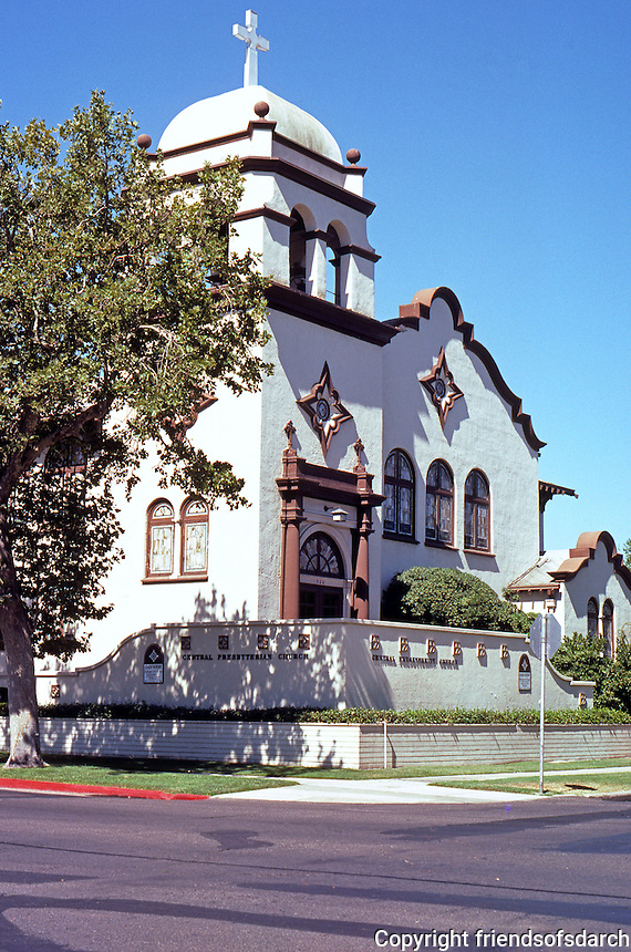 Merced CA:  Central Presbyterian Church, 1905. 20th & Canal. In Mission Style.  Photo 2000.