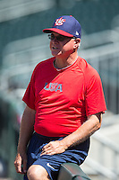 USCNT assistant coach Paul Maineri (2) watches the Cuban National Team take batting practice at BB&T BallPark on July 4, 2015 in Charlotte, North Carolina.  The United State Collegiate National Team defeated the Cuban National Team 11-1.  (Brian Westerholt/Four Seam Images)