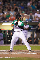 Leandro Santana (8) of the Dayton Dragons at bat against the Bowling Green Hot Rods at Fifth Third Field on June 8, 2018 in Dayton, Ohio. The Hot Rods defeated the Dragons 11-4.  (Brian Westerholt/Four Seam Images)
