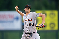 Delmarva Shorebirds starting pitcher Matthias Dietz (30) in action against the Kannapolis Intimidators at Kannapolis Intimidators Stadium on July 3, 2017 in Kannapolis, North Carolina.  The Shorebirds defeated the Intimidators 5-2.  (Brian Westerholt/Four Seam Images)