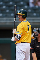 AZL Athletics Gold Nick Hundley (7) at bat during a rehab assignment in an Arizona League game against the AZL Giants Black on July 12, 2019 at Hohokam Stadium in Mesa, Arizona. The AZL Giants Black defeated the AZL Athletics Gold 9-7. (Zachary Lucy/Four Seam Images)