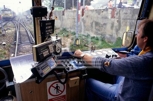 Roudnice, Czech Republic. Inside the cab of an electric railway locomotive.