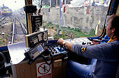 Roudnice, Czech Republic. Inside the cab of an electric railway locomotive.
