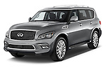 2017 Infiniti QX80 3.5 5 Door SUV Angular Front stock photos of front three quarter view