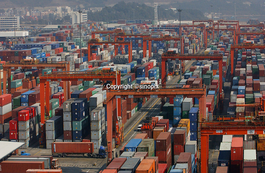 Yantian International Container Terminal in Yantian port, Shenzhen, China. The port is the largest in south China and ships most of the goods manufactured in Guangdong Province..