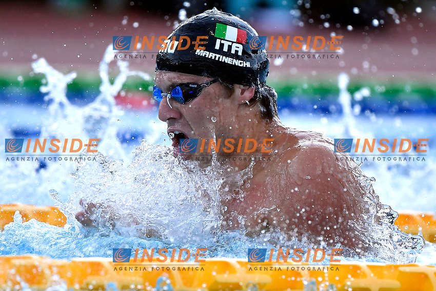 Nicolo Martinenghi of Italy competes in the men 50m breaststroke during the 58th Sette Colli Trophy International Swimming Championships at Foro Italico in Rome, June 26th, 2021. Nicolo Martinenghi placed first.