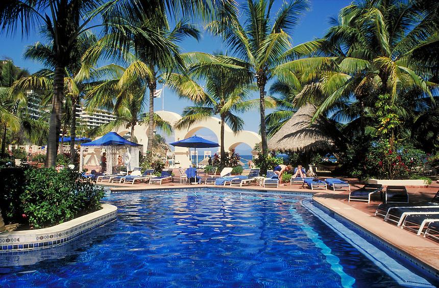 hotel pool at La Jolla de Mismaloya resort in Puerto Vallarta, Mexico. Puerto Vallarta, Mexico.
