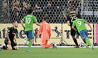 LOS ANGELES, CA - OCTOBER 29: Raul Ruidiaz #9 of the Seattle Sounders FC scores a goal and begins to celebrate during a game between Seattle Sounders FC and Los Angeles FC at Banc of California Stadium on October 29, 2019 in Los Angeles, California.