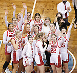 SIOUX FALLS, SD - MARCH 9: The University of South Dakota Coyotes celebrate their 66-43 win over the Nebraska-Omaha Mavericks for the 2021 Women's Summit League Basketball Championship at the Sanford Pentagon in Sioux Falls, SD. (Photo by Richard Carlson/Inertia)