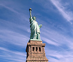 View of Statue of Liberty on Liberty Island in New York City.