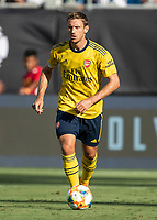 CHARLOTTE, NC - JULY 20: Nacho Monreal #18 during a game between ACF Fiorentina and Arsenal at Bank of America Stadium on July 20, 2019 in Charlotte, North Carolina.