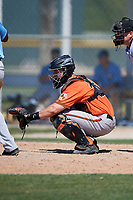 Baltimore Orioles catcher Chris Shaw (32) during a minor league Spring Training game against the Tampa Bay Rays on March 29, 2017 at the Buck O'Neil Baseball Complex in Sarasota, Florida.  (Mike Janes/Four Seam Images)