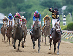 May 18, 2013, Oxbow (#6), Gary Stevens up, wins the 138th Preakness Stakes at Pimlico Race Course in Baltimore, MD.  Itsmyluckyday (center, pink and blue silks) was second; Mylute (left, #5) was third; .  (Joan Fairman Kanes/Eclipse Sportswire)