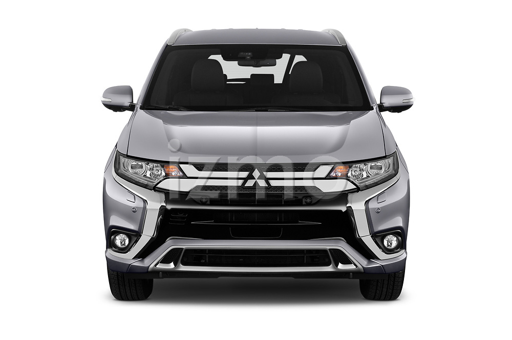 Car photography straight front view of a 2019 Mitsubishi Outlander-PHEV Intense-4wd 5 Door SUV Front View