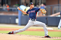 Rome Braves starting pitcher Alan Rangel (55) delivers a pitch during a game against the Asheville Tourists at McCormick Field on August 12, 2019 in Asheville, North Carolina. The Tourists defeated the Braves 11-6. (Tony Farlow/Four Seam Images)