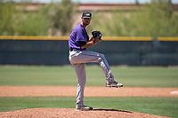 Colorado Rockies relief pitcher Alec Byrd (14) prepares to deliver a pitch during an Extended Spring Training game against the Chicago Cubs at Sloan Park on April 17, 2018 in Mesa, Arizona. (Zachary Lucy/Four Seam Images)