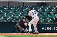 Lakeland Flying Tigers Griffin Dey (26) bats in front of catcher Carlos Narvaez (5)  during a game against the Tampa Tarpons on May 16, 2021 at Joker Marchant Stadium in Lakeland, Florida.  (Mike Janes/Four Seam Images)