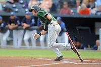 Augusta GreenJackets second baseman Trevor Brown #41 swings at a pitch during a game against the Asheville Tourists at McCormick Field on June 27, 2013 in Asheville, North Carolina. The Tourists won the game 10-6. (Tony Farlow/Four Seam Images)