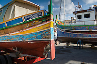 Malta, 28 December 2014<br /> <br /> The harbourfront of the Ta Xbiex and Gzira neighbourhoods opposite the old capital of Valetta. You can still find the traditional Maltese fishing boats there painted in bright colours<br /> <br /> Photo Kees Metselaar