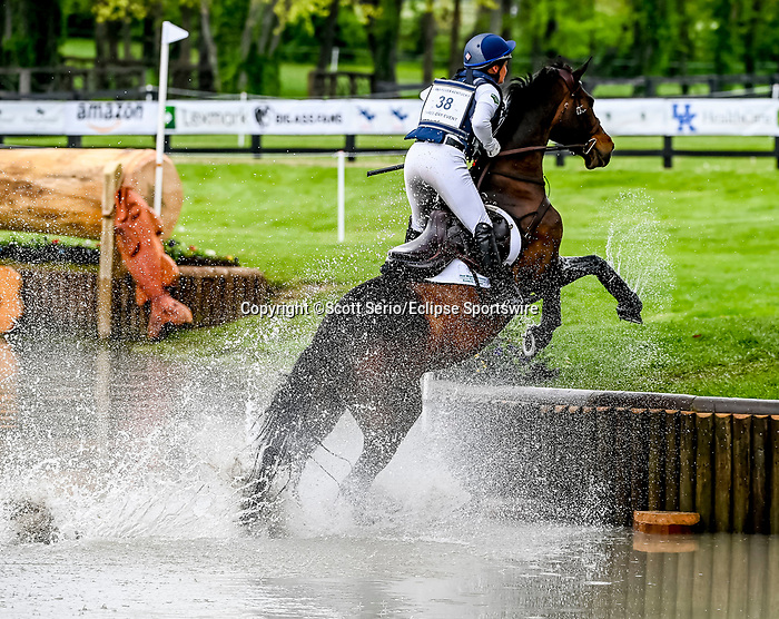 April 24, 2021: Hannah Sue Burnett competes in the Cross Country phase of the Land Rover 5* 3-Day Event aboard Harbour Pilot at the Kentucky Horse Park in Lexington, Kentucky. Scott Serio/Eclipse Sportswire/CSM