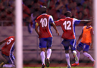 SAN JOSE, COSTA RICA - September 06, 2013: Joel Campbell (12) of the Costa Rica MNT celebrates his goal against the USA during a 2014 World Cup qualifying match at the National Stadium in San Jose on September 6. USA lost 3-1.