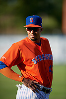 Syracuse Mets Aaron Altherr (43) during warmups before an International League game against the Charlotte Knights on June 11, 2019 at NBT Bank Stadium in Syracuse, New York.  Syracuse defeated Charlotte 15-8.  (Mike Janes/Four Seam Images)