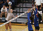Nevada's Madison Morell hits against Air Force during college volleyball action in Reno, Nev., on Thursday, Sept. 25, 2014. Air Force won 3-2.<br /> Photo by Cathleen Allison