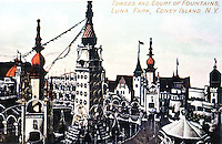 New York:  Luna Park by Day-- Towns and Court of Fountains,  Coney Island.  Postcard view--Koolhaas.
