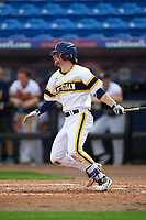 Michigan Wolverines shortstop Michael Brdar (9) at bat during the first game of a doubleheader against the Canisius College Golden Griffins on June 20, 2016 at Tradition Field in St. Lucie, Florida.  Michigan defeated Canisius 6-2.  (Mike Janes/Four Seam Images)