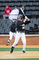 Gavin Sheets (24) of the Wake Forest Demon Deacons at bat against the Appalachian State Mountaineers at Wake Forest Baseball Park on February 13, 2015 in Winston-Salem, North Carolina.  The Mountaineers defeated the Demon Deacons 10-1.  (Brian Westerholt/Four Seam Images)