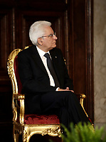 Italian President Sergio Mattarella listens to Pope Francis as he delivers his speech during their meeting at the Quirinale presidential palace, in Rome, on June 10, 2017.<br /> UPDATE IMAGES PRESS/Isabella Bonotto<br /> STRICTLY ONLY FOR EDITORIAL USE