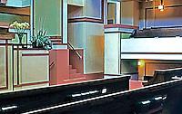 F.L. Wright: Unity Temple. Interior--Pews.  Photo '76.