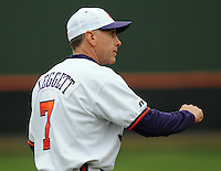 Clemson head coach Jack Leggett gestures during a game between the Mercer Bears and Clemson Tigers at Doug Kingsmore Stadium on Feb. 24, 2008, in Clemson, S.C. Clemson won 10-3. Photo by:  Tom Priddy/Four Seam Images