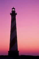 lighthouse, Cape Hatteras National Seashore, Outer Banks, North Carolina, NC, Cape Hatteras Lighthouse at sunrise on Cape Hatteras Nat'l Seashore on the Outer Banks.