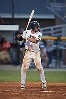 Benjamin Smith (6) (Biola) of the Burlington Sock Puppets at bat against the Danville Otterbots at Burlington Athletic Park on June 5, 2021 in Burlington, North Carolina. (Brian Westerholt/Four Seam Images)
