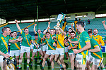 Kilmoyley players celebrate after winning the Kerry County Senior Hurling Championship Final match between Kilmoyley and Causeway at Austin Stack Park in Tralee